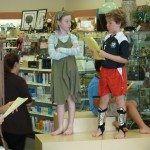 Emma and Izzy in the play at our book launch at Hillside Pharmacy--Manhattan Beach's independent children's bookstore cleverly disguised as a pharmacy.