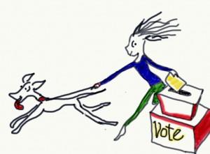9-24-14 COLOR running past ballot box